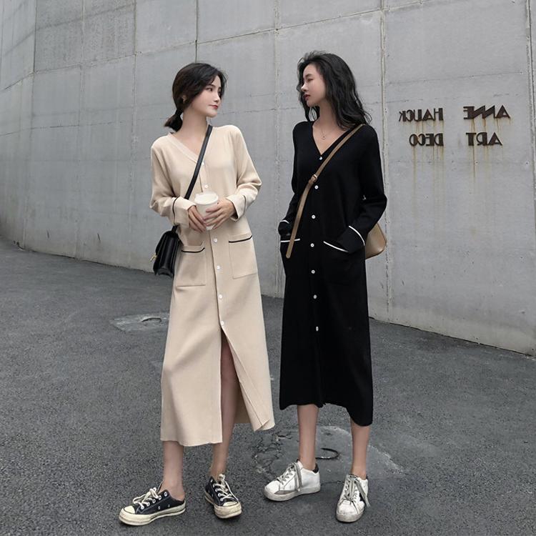 法式小众设计感针织连衣裙长款过膝毛衣裙子女秋冬季内搭打底长裙