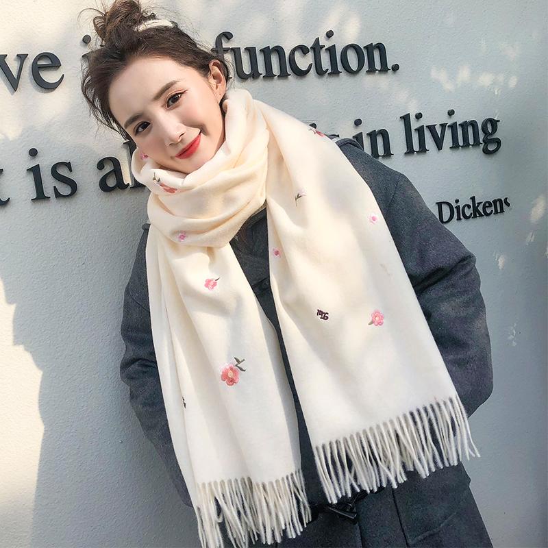 围巾女冬季 百搭韩版小碎花仿羊绒围脖女士冬天披肩学生加厚保暖