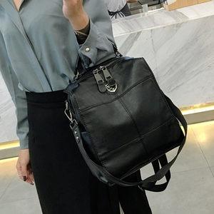 2019新款牛皮双肩包韩版书包拼接旅行包休闲女真皮牛津布两用背包