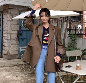 韩国女装正品M帅气复古简约翻领宽松长袖有型潮流西服西装外套女