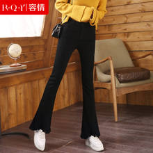Women's high waisted bell bottoms 2020 new spring and autumn nine Fen wear leggings black micro bell thin long pants