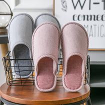 秋冬季棉拖鞋女情侣居家用室内保暖毛棉鞋家居客人厚底月子男冬天