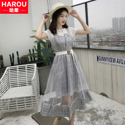 背带裙子仙女超仙森系夏装2020年新款套装初中学生韩版少女连衣裙