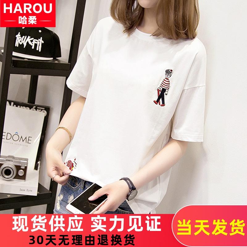 短袖T恤2020新款少女生夏装宽松百搭初中学生韩版休闲运动上衣服