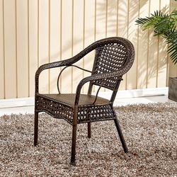 餐椅洽谈椅子咖啡厅家用办公现代休闲吧腾编扶手椅子藤椅单人靠背