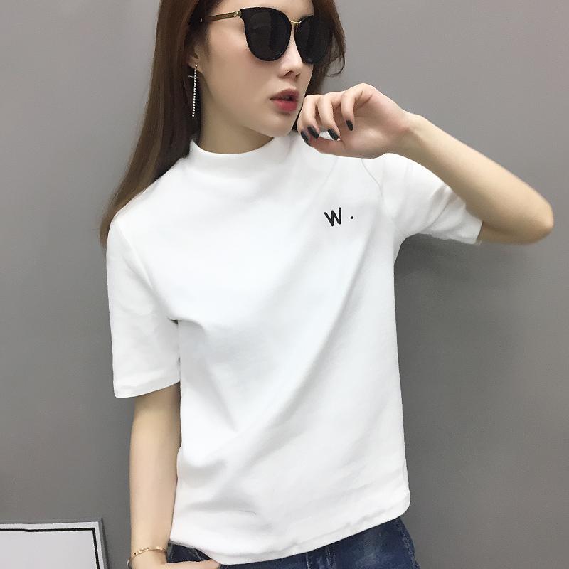 欧洲站女装2021年新款欧货潮纯棉白色t恤女短袖打底衫半袖体恤夏