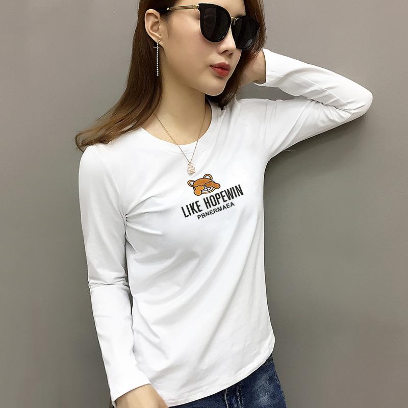 欧洲站2021年新款女装欧货潮白色刺绣长袖t恤女打底衫女春装内搭