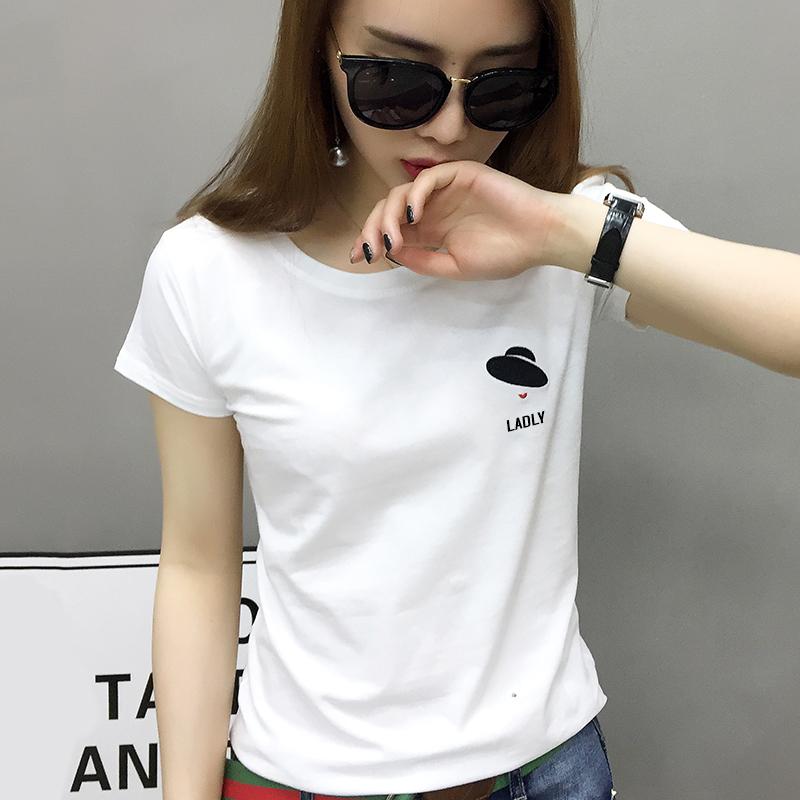 欧洲站女装2021年新款欧货潮白色t恤女短袖纯棉打底衫内搭体恤夏