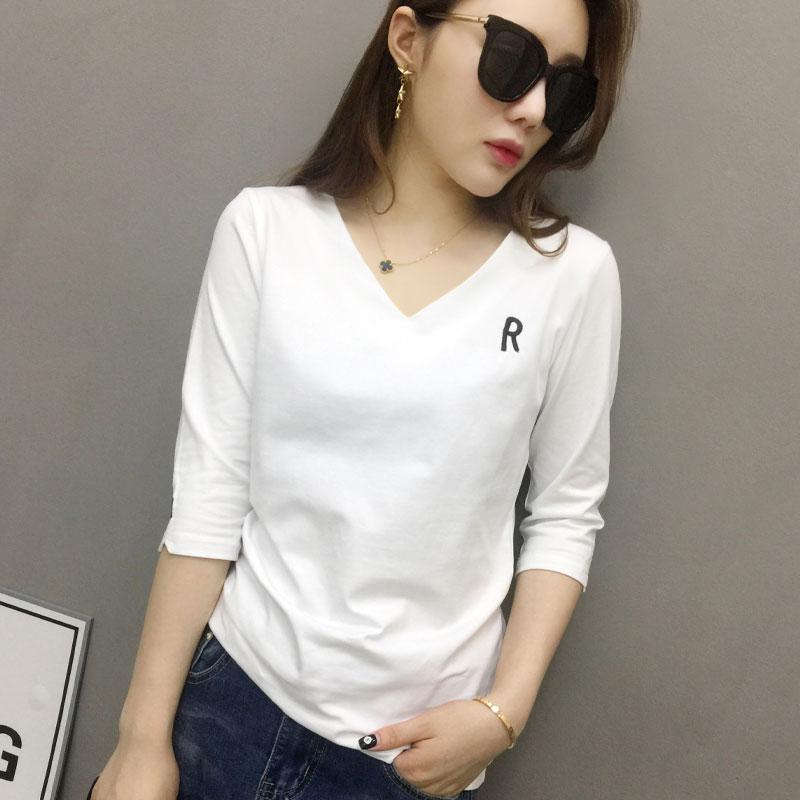 欧洲站女装2021年新款欧货潮牌白色中长袖t恤女打底衫体恤夏上衣