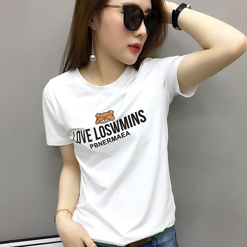 欧洲站女装欧货潮2019新款修身白色t恤女短袖打底衫春夏内搭体恤