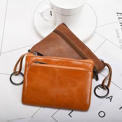 硬币零钱包男小钱包简约迷你双拉链双多层钥匙卡包一体外贸零钱袋