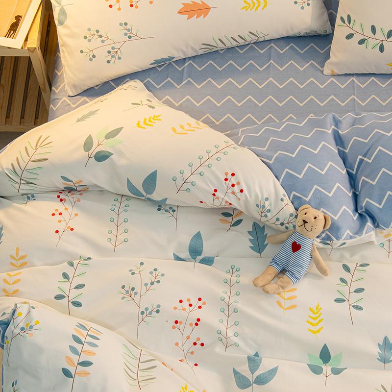 床上四件套全棉纯棉100床单小清新被套北欧风ins网红新款家用床品