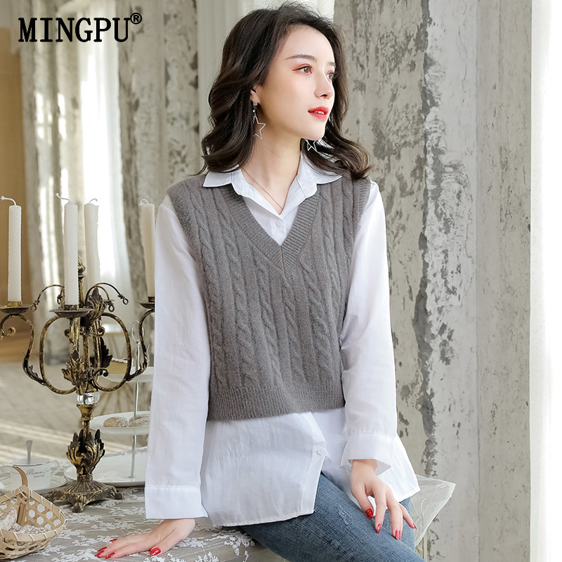 Knitted vest women's Hemp pullover in spring, autumn and winter