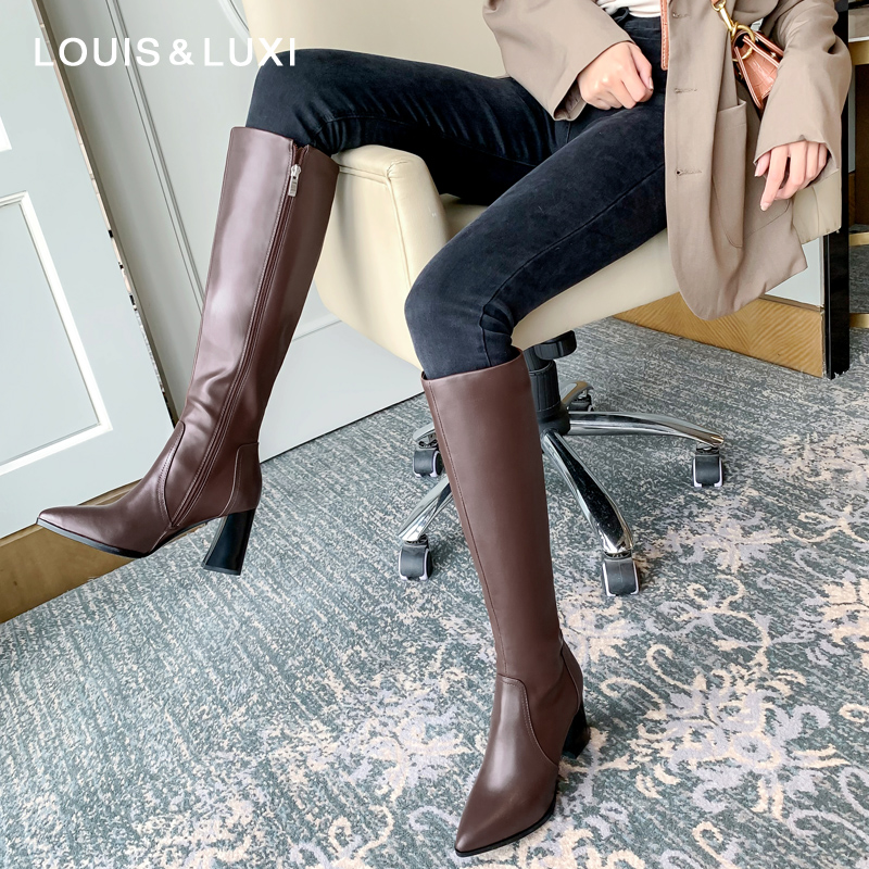 Knight boots womens new leather boots in autumn and winter 2019 are thin, and the boots are no more than knee high heels and knee thick heels Brown high boots
