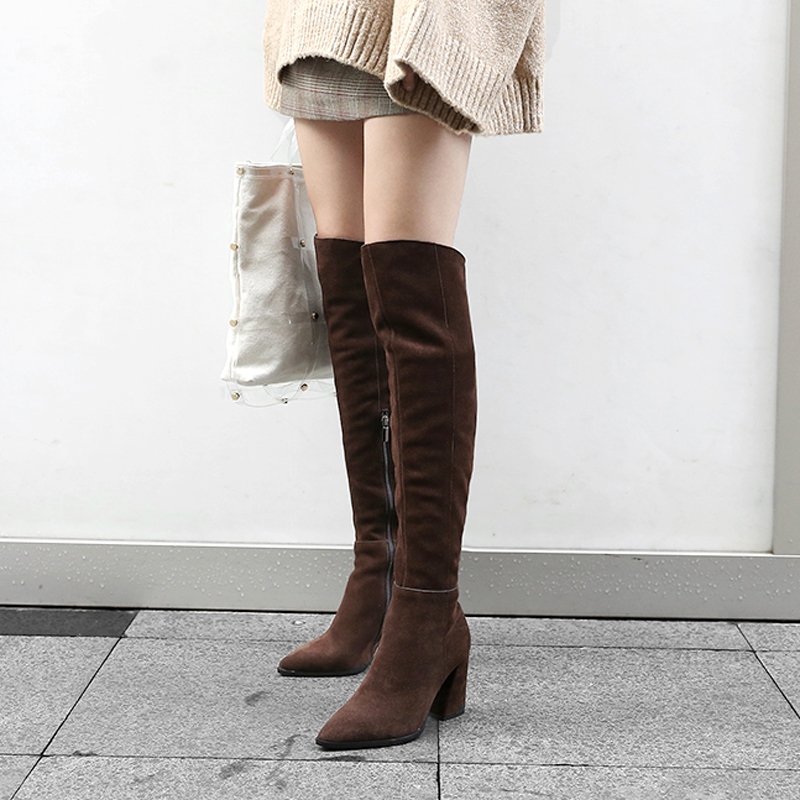 High boots childrens autumn and winter 2019 pointed head, over the knee, small boots, high heels, thick heels, thin womens shoes