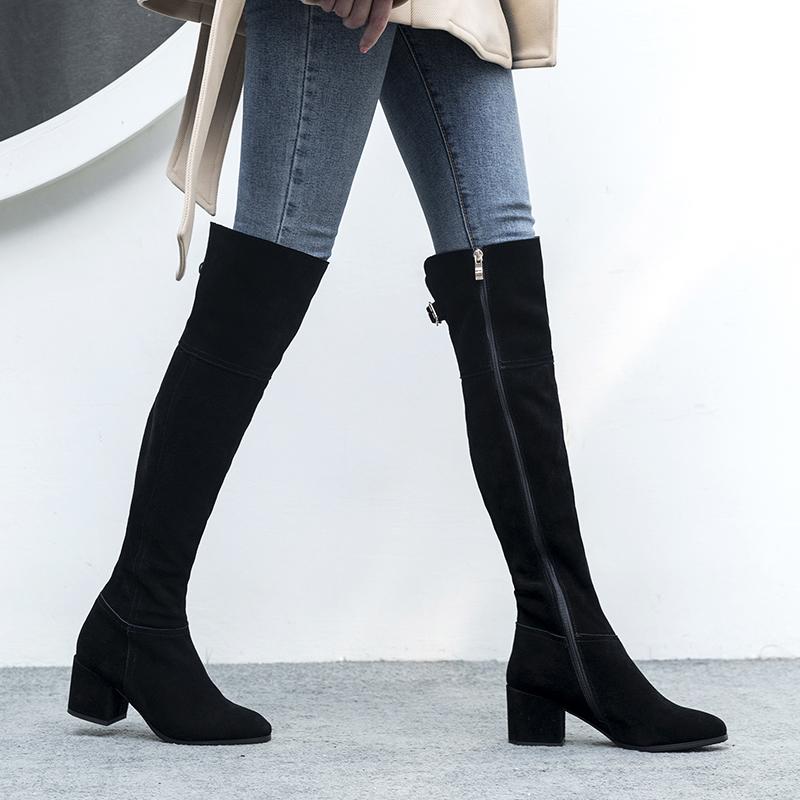 秋冬新款欧美范全皮长筒靴中低跟长靴圆头粗跟女显瘦腿过膝靴加绒