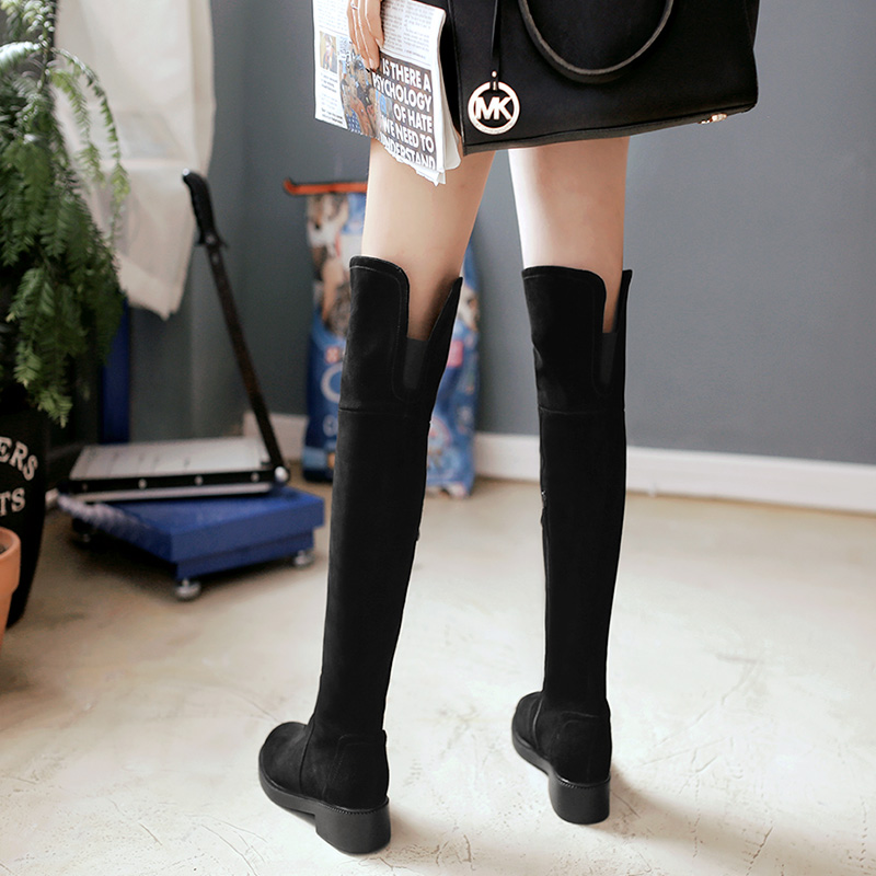 Thin flat bottomed boots womens autumn and winter 2019 long boots flat heel over knee boots all cow leather frosted high tube womens Boots