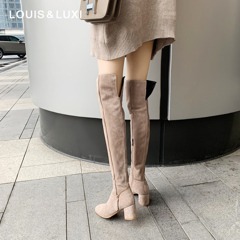 Full leather boots childrens 2019 new autumn and winter thick heel high barrel Knight boots high heel knee high boots women look thin