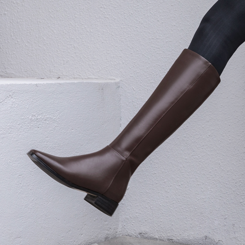Thin leg high boots womens flat heeled Knight boots small mens knee length boots womens Brown Leather flat bottomed knee length boots