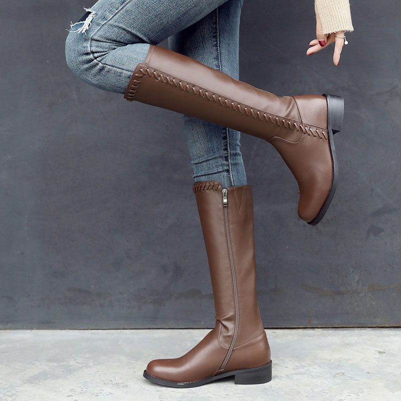 Real leather flat heel high boots womens autumn and winter new round head low heel knee high boots Knight boots side zipper brown boots