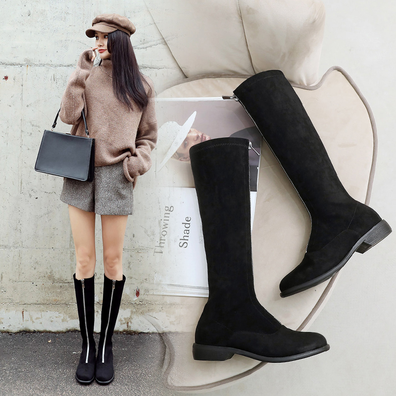 Autumn and winter 2019 new low heel front zipper knee high boots womens round head retro flat bottom thin leg high tube elastic boots