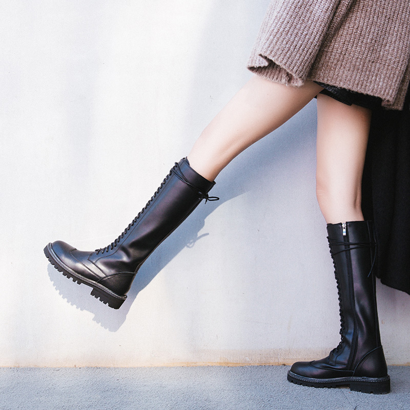 European station thick soled Leather Knee High Boots Martin boots womens winter round head lace up middle heel motorcycle knee high boots