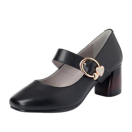 女士2019新款真皮韩版中跟单鞋皮鞋