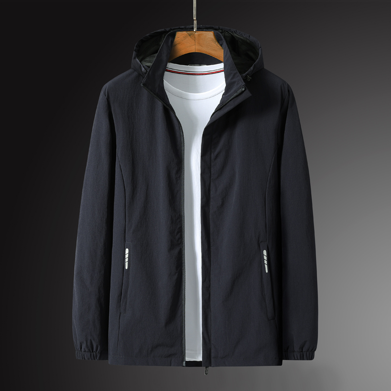 Mens new jacket plus size breathable hooded outdoor sports windbreaker sports coat mens autumn and winter loose top