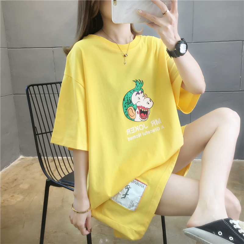 實拍廠家低價直銷現貨夏裝新款上衣韓版印花貼布中長款短袖T恤女