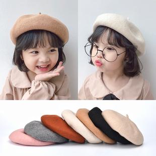 秋冬季 儿童贝雷帽女宝宝复古羊绒公主帽子亲子南瓜帽小女孩礼帽