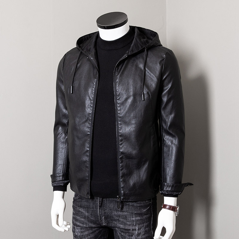 Hooded Leather Men's slim fit Korean Trend handsome spring thin men's casual motorcycle leather jacket