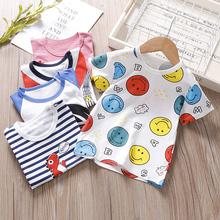 儿童夏季短袖t恤0-6岁男童女童纯棉圆领半袖上衣宝宝中小童打底衫