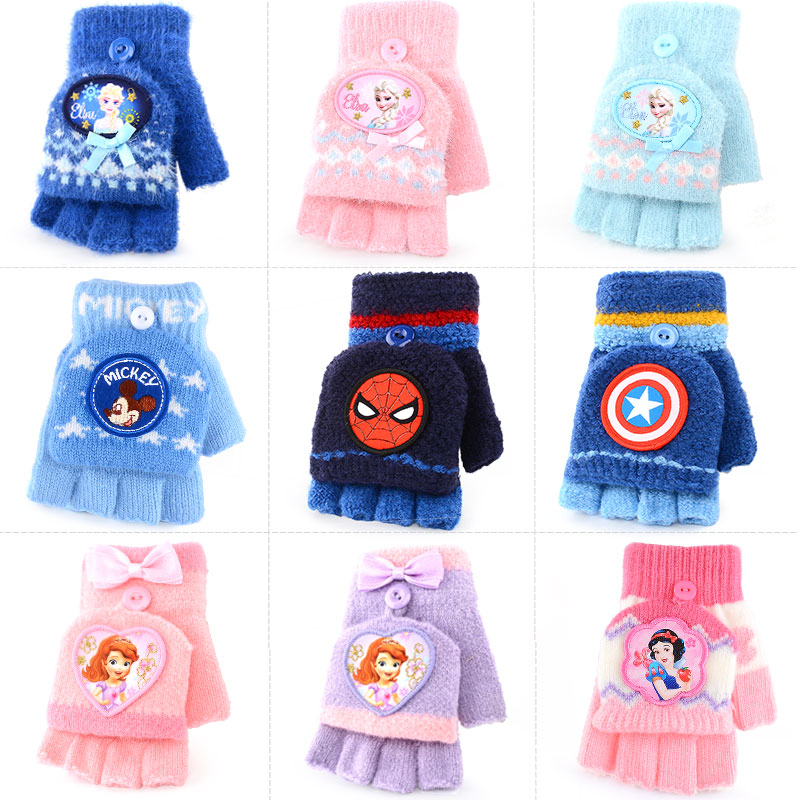 Disneyland children's gloves, boys and girls, half finger fold, babies, five fingers, lovely winter warm primary school students