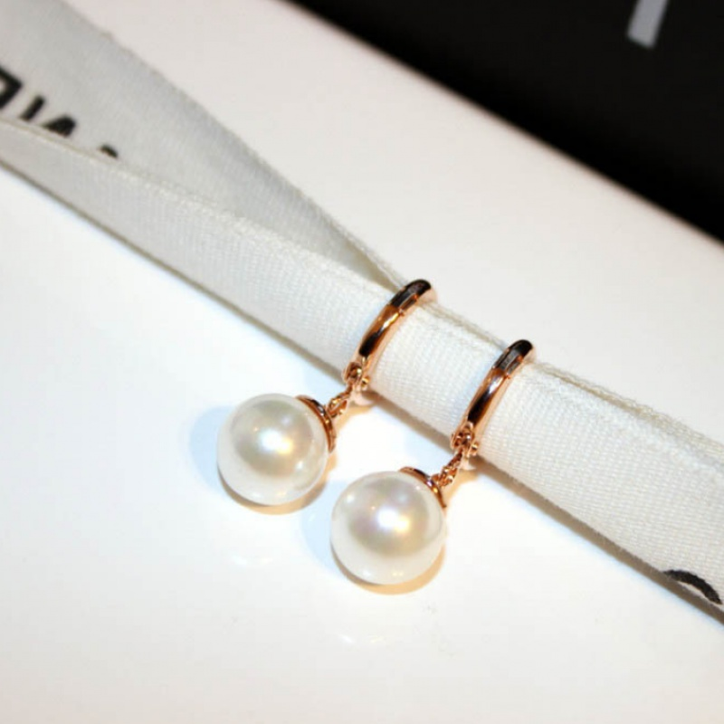 Goddess star with anti allergy rose gold earrings pearl earrings female Japanese and Korean minimalist style and sweet temperament