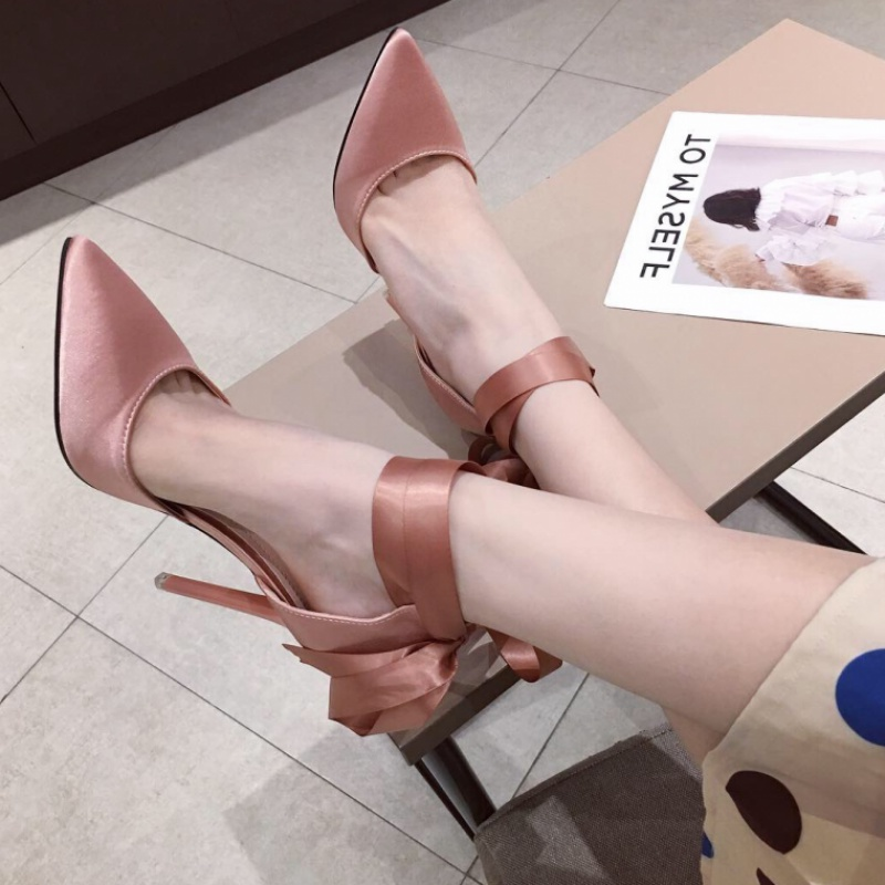 Goddess Korean version versatile pointed head shallow mouth single shoes thin heel Silk Bandage butterfly fairy lady shoes pink Bridesmaid high heels