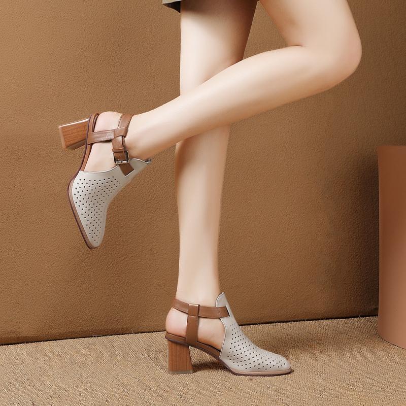 包頭涼鞋女2020夏季新款鏤空真皮時裝高跟鞋粗跟羅馬大碼女鞋后空