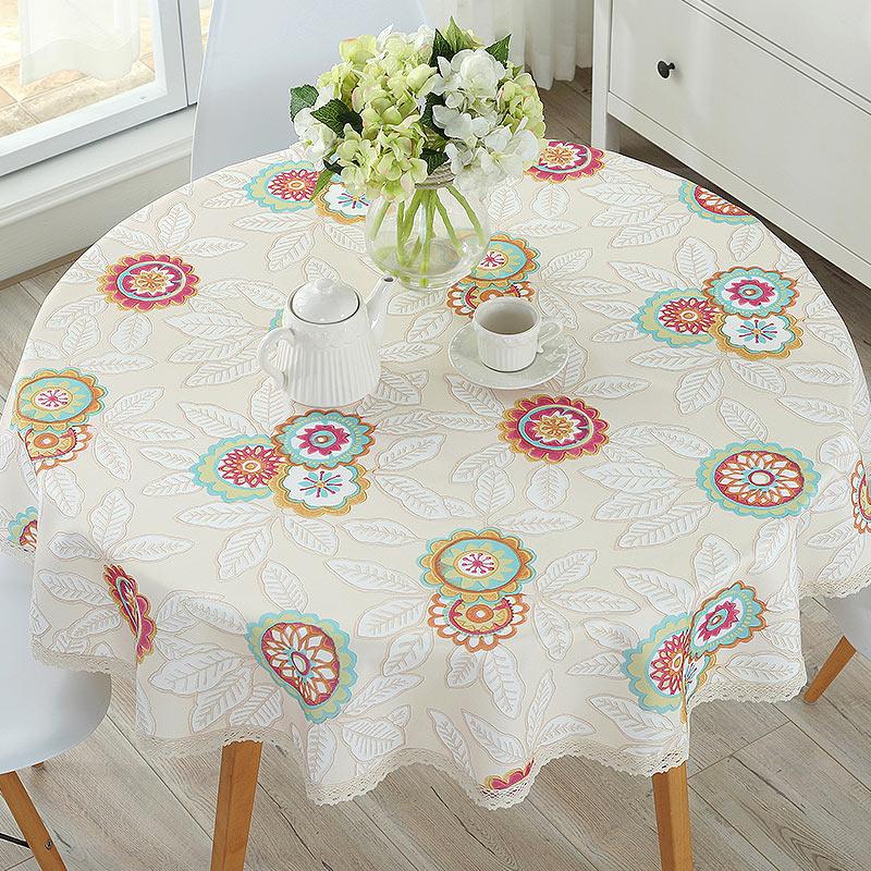 北欧圆桌餐桌垫防水布艺学生台布
