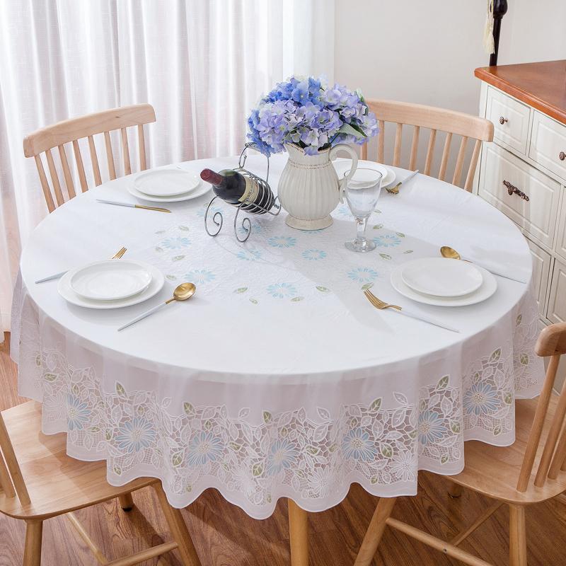 简约现代pvc塑料圆形餐桌桌垫客厅防水防烫防油免洗圆桌桌布盖布(用29.5元券)