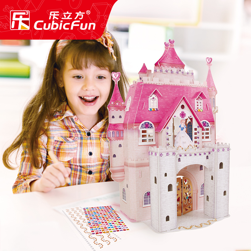 Le Cube 3D stereoscopic puzzle puzzle princess castle DIY sticker drill stereoscopic handmade toy house girl