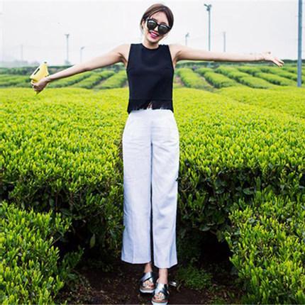 亚麻韩版高腰显瘦女款19夏潮阔腿裤
