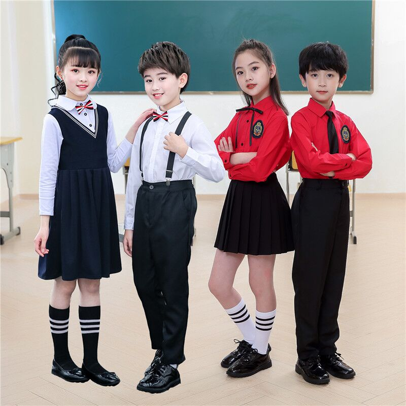 Primary school students performance recitation suit suspenders boys and girls long sleeve chorus performance clothing childrens College style school uniform