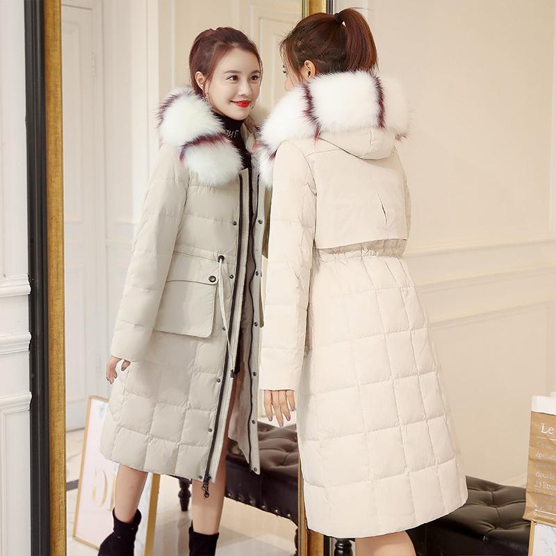 2019冬季新款棉服女中长款过膝加厚韩版淑女修身收腰羽绒棉袄外套