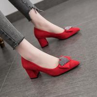 高跟鞋女鞋春秋季新款中跟粗跟百搭尖頭奶奶鞋工作網紅單鞋女秋