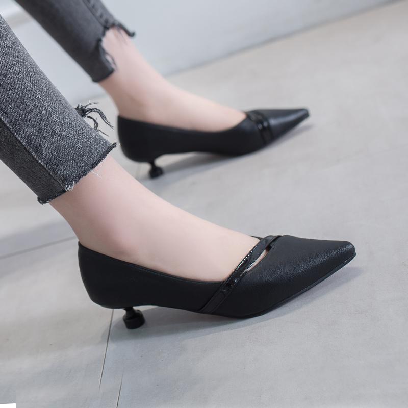 单鞋女平底鞋酒杯跟新款春季百搭尖头网红浅口黑色低跟工作女鞋