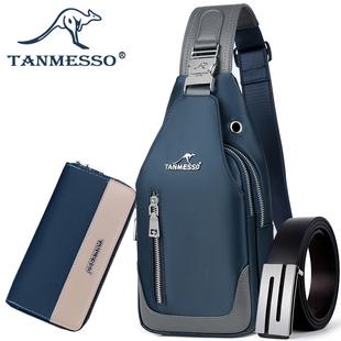 tanmesso胸包男韩版斜挎包休闲牛津布小包背包单肩包男包胸前包潮品牌