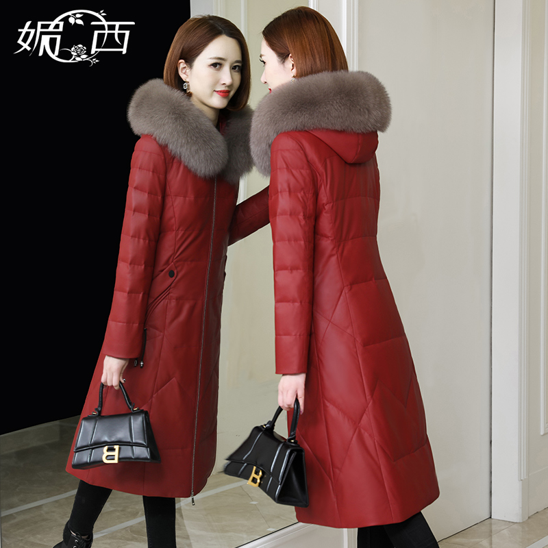 Meixi 2020 New Leather Down Jacket Women Long Haining Leather Sheep Fur Slim Jacket Fox Fur Collar