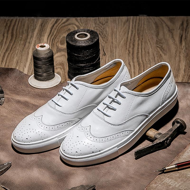 KS男鞋夏季雕花白色休闲皮鞋简约透气真皮布洛克小白鞋厚底板鞋潮