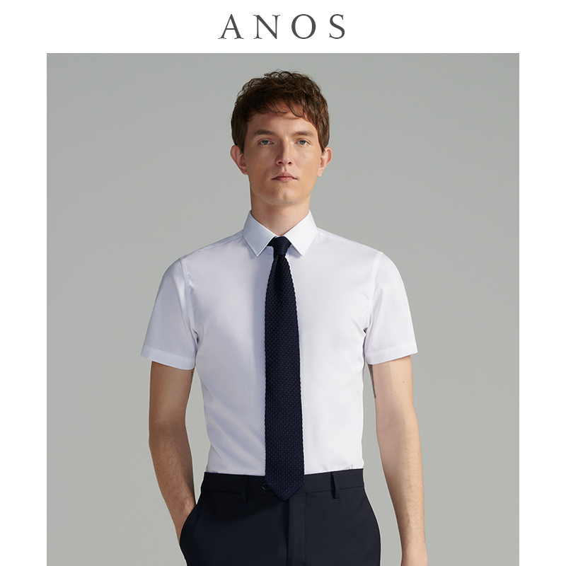 ANOS summer men's shirt short-sleeved business casual non-iron half-sleeved slim thin professional formal wear white shirt men