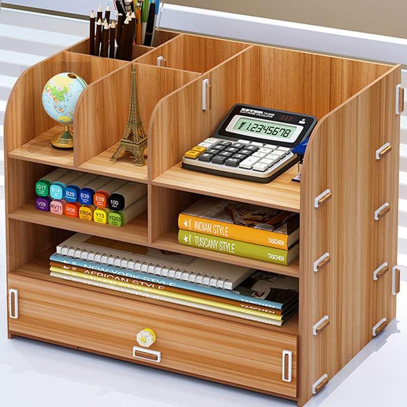 桌子账本收纳箱抽拉式整理办公桌收纳盒多层抖支架盒子中式木制资