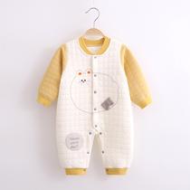 婴儿衣服宝宝连体衣三层夹棉加厚秋冬保暖套装宝宝哈衣儿童爬服